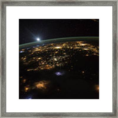 Good Morning From The International Space Station Framed Print by Artistic Panda