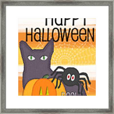 Halloween Friends- Art By Linda Woods Framed Print