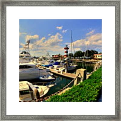 Harbour Town Marina Sea Pines Resort Hilton Head Sc Framed Print by Lisa Wooten