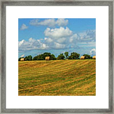 Hay Bales Panoramic Framed Print by Barry Jones