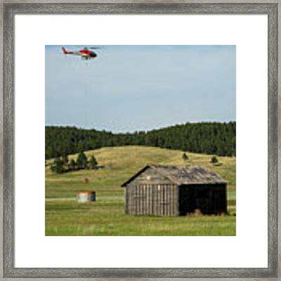 Helicopter Dips Water At Heliwell Framed Print by Bill Gabbert