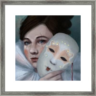 Hiding Behind Masks Framed Print by Angela Murdock
