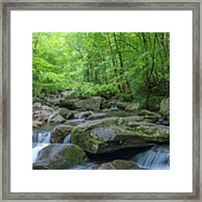 High Shoals Falls Trail In South Mountain Panorama Framed Print by Ranjay Mitra