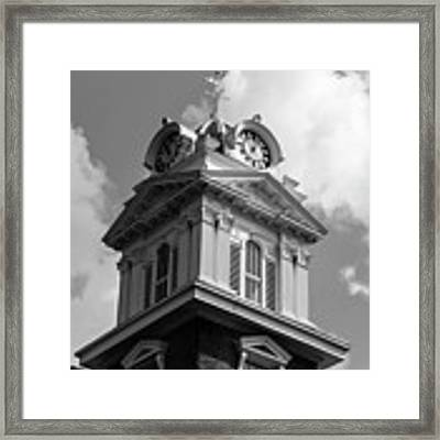 Historic Courthouse Steeple In Bw Framed Print by Doug Camara