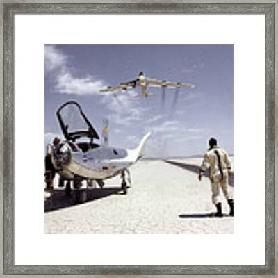 Hl-10 On Lakebed With B-52 Flyby Framed Print by Artistic Panda