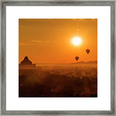 Holy Temple And Hot Air Balloons At Sunrise Framed Print by Pradeep Raja PRINTS