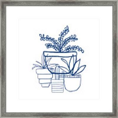 Indigo Potted Succulents- Art By Linda Woods Framed Print