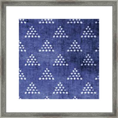 Indigo Triangles 2- Art By Linda Woods Framed Print by Linda Woods