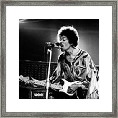 Jimi Hendrix Live Halo 1970 Framed Print by Chris Walter