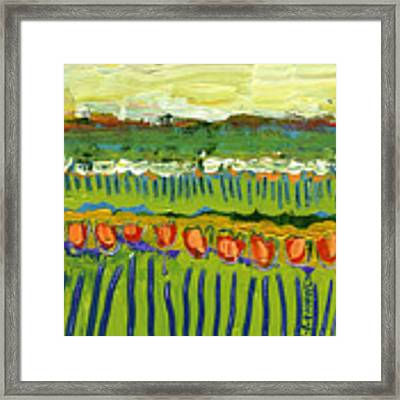 Landscape In Green And Orange Framed Print