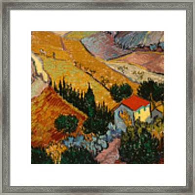 Landscape With House And Ploughman Framed Print by Vincent Van Gogh