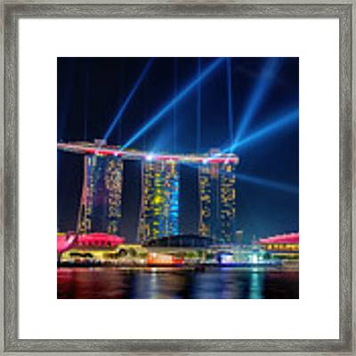 Laser Show At Mbs Singapore Framed Print by Yew Kwang