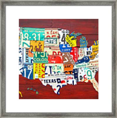 License Plate Map Of The United States - Midsize Framed Print