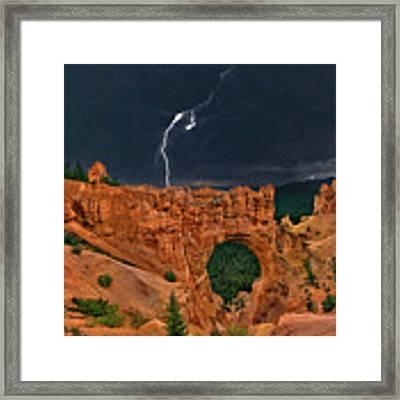 Lightning Over Natural Bridge Formation Bryce Canyon National Park Utah Framed Print by Dave Welling