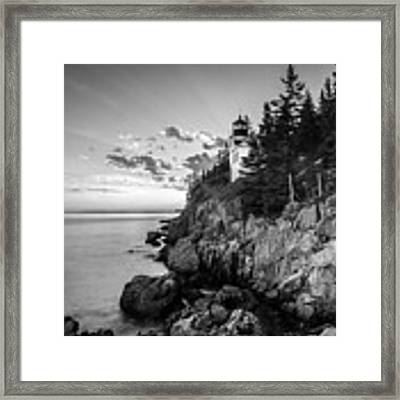 Maine Acadia Bass Harbor Lighthouse In Black And White Framed Print by Ranjay Mitra
