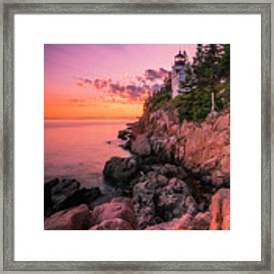 Maine Acadia Bass Harbor Lighthouse Sunset Framed Print by Ranjay Mitra