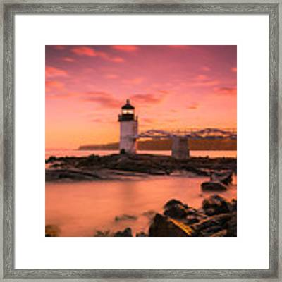 Maine Lighthouse Marshall Point At Sunset Framed Print by Ranjay Mitra