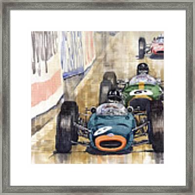 Monaco Gp 1964 Brm Brabham Ferrari Framed Print by Yuriy Shevchuk