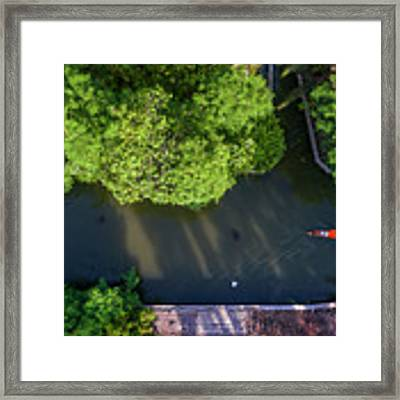 Monk Rowing Boat Along Floating Market Aerial View Framed Print by Pradeep Raja PRINTS