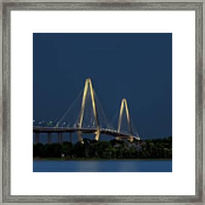 Moon Over Arthur Ravenel Jr. Bridge Framed Print by Ken Barrett