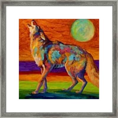 Moon Talk - Coyote Framed Print