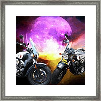 Moonlit Indian Motorcycle Framed Print by Ericamaxine Price