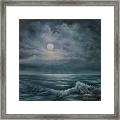 Moonlit Seascape Framed Print by Katalin Luczay