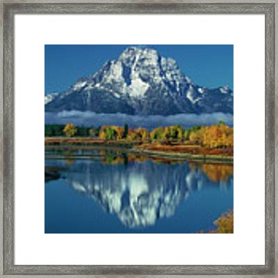 Morning Cloud Layer Oxbow Bend In Fall Grand Tetons National Park Framed Print by Dave Welling