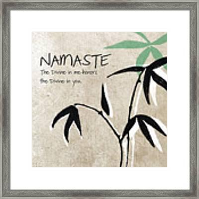 Namaste Framed Print by Linda Woods