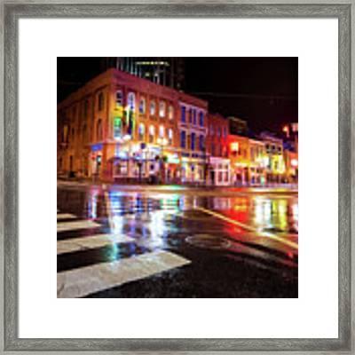 Nashville Neons Over Lower Broadway Framed Print by Gregory Ballos