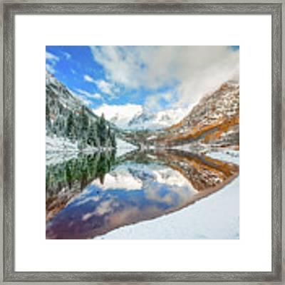 Natures Divine Canvas - Maroon Bells Aspen Colorado Framed Print by Gregory Ballos