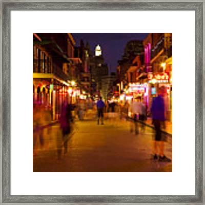New Orleans, Bourbon Street At Night Framed Print by Bryan Mullennix