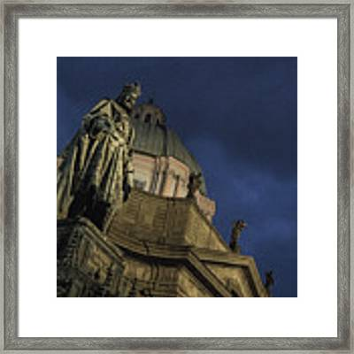 Night At The Foot Of St. Charles Bridge Framed Print by Matthew Wolf