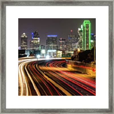 Night Dallas Skyline Square Format Framed Print by Gregory Ballos