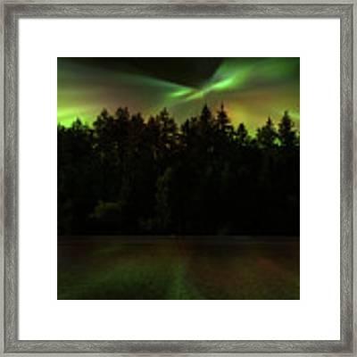 Northern Lights Woodland  Framed Print by Gigi Ebert