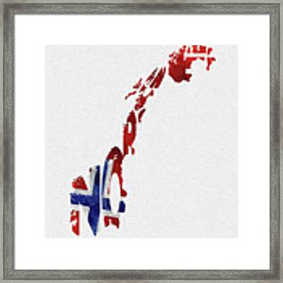 Norway Typographic Map Flag Framed Print