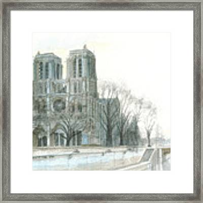Notre Dame Cathedral In March Framed Print by Dominic White