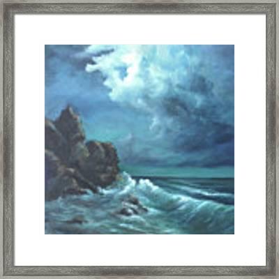 Seascape And Moonlight An Ocean Scene Framed Print by Katalin Luczay