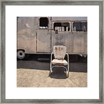 Old 1930 Silver Camping Trailer Framed Print by Edward Fielding
