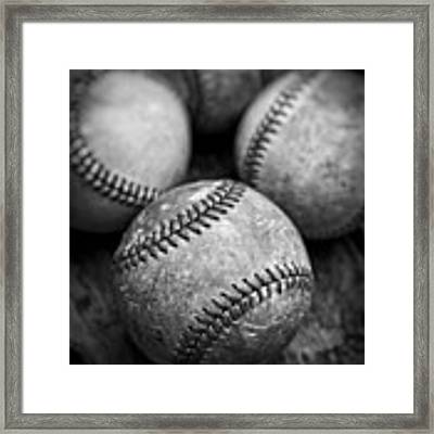 Old Baseballs In Black And White Framed Print by Edward Fielding