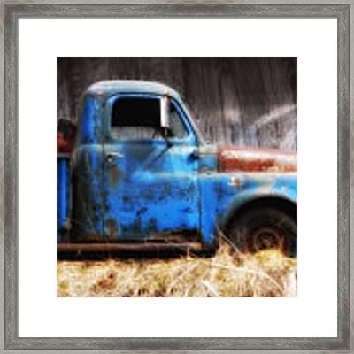 Old Blue Truck Framed Print by Ken Barrett