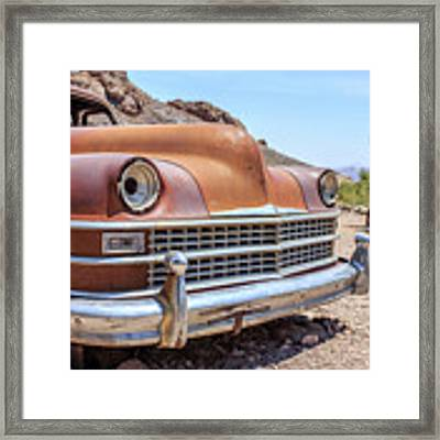 Old Cars In The Desert, Eldorado Canyon, Nevada Framed Print by Edward Fielding
