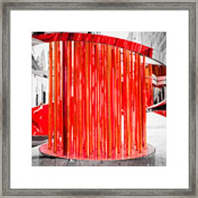 Olympic Neon Flame Framed Print by Rona Black