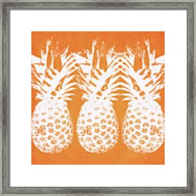 Orange And White Pineapples- Art By Linda Woods Framed Print by Linda Woods