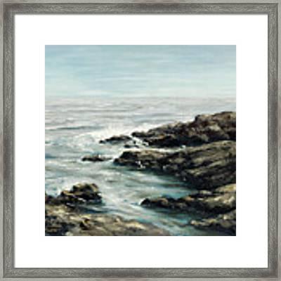 Original Fine Art Painting Bass Rocks Massachusetts Framed Print by G Linsenmayer