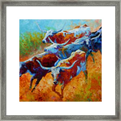 Over The Ridge - Longhorns Framed Print