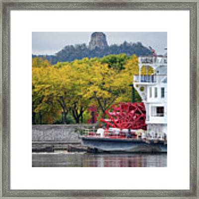 Paddlewheeler At Winona Mn Mississippi River Framed Print by Kari Yearous