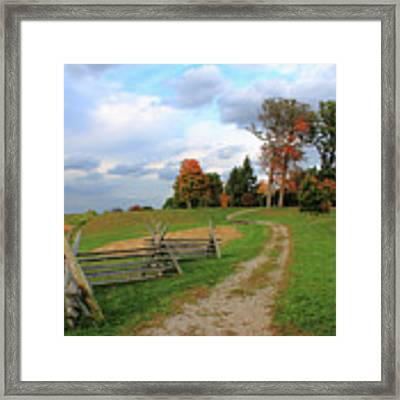 Pathway To Fall Framed Print by Angela Murdock