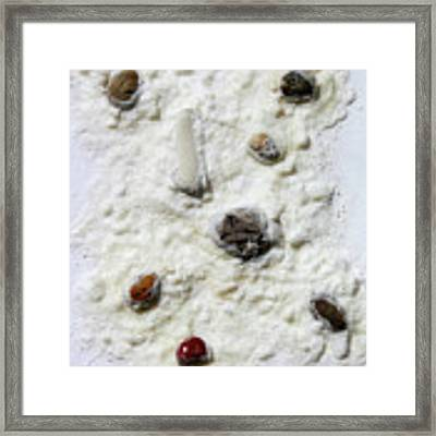 Pebbles In Snow Framed Print by Augusta Stylianou