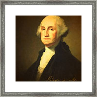 President George Washington Portrait And Signature Framed Print
